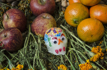 Sugar skull, oranges and flowers. Part of a mexican Day of the Dead offering altar