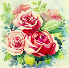 Watercolor painting realistic original red color of roses flowers.