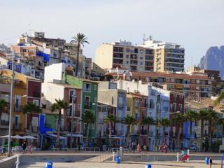 Casas de colores en Villajoyosa,municipio de la Comunidad Valenciana, España. Perteneciente a la provincia de Alicante y situado en la Costa Blanca