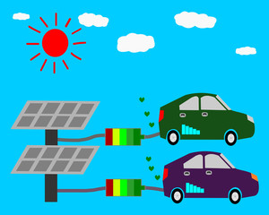 Eco car, Solar energy concept illustration, eco energy solar sun alternative power