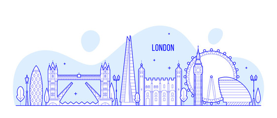 Wall Mural - London skyline England UK vector city buildings