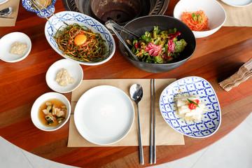 Dish, Fork, chopsticks and Korean pickle group for eat