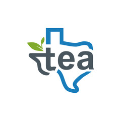 Texas Line Maps with Tea Letter Inside Logo Vector