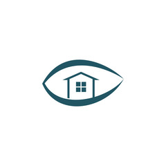 Eye Logo with House Icon Inside Vector