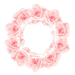 Pink roses arranged in a circle with white ring overlay, isolated on white