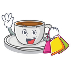 Shopping coffee character cartoon style