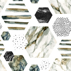 Poster de jardin Empreintes Graphiques Watercolor hexagon with stripes, water color marble, grained, grunge, paper textures.