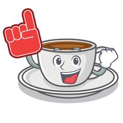 Foam finger coffee character cartoon style