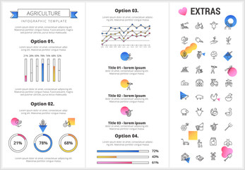 Agriculture infographic template, elements and icons. Infograph includes customizable graphs, four options, line icon set with agriculture food, farm animal, agricultural business, farming tools etc.