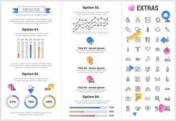 Medicine infographic template, elements and icons. Infograph includes customizable graphs, options, line icon set with medical stethoscope, disable person, hospital doctor, nurse, first aid kit etc.