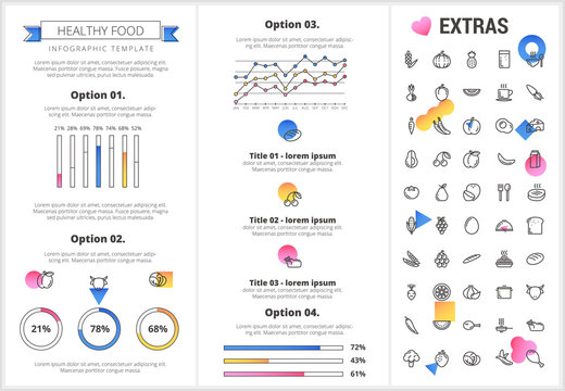 Healthy food infographic template, elements and icons. Infograph includes customizable graphs, four options, line icon set with food plate, restaurant meal ingredients, eat plan, vegetables, meat etc.