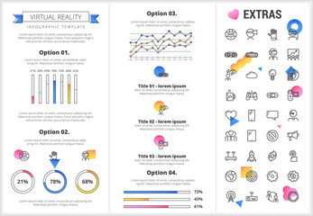 Virtual reality infographic template, elements and icons. Infograph includes customizable graphs, four options, line icon set with virtual reality glasses, vr technology, video games, tech app etc.