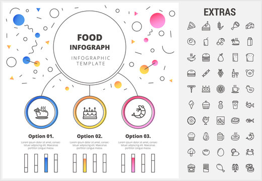 Food circle infographic template, elements and icons. Infograph includes customizable bar charts, line icon set with food ingredients, restaurant meal, fruit and vegetables, snacks, fast food etc.