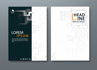 Annual report brochure flyer design, Leaflet cover presentation abstract background, book cover templates, layout in A4 size, Maze game image.