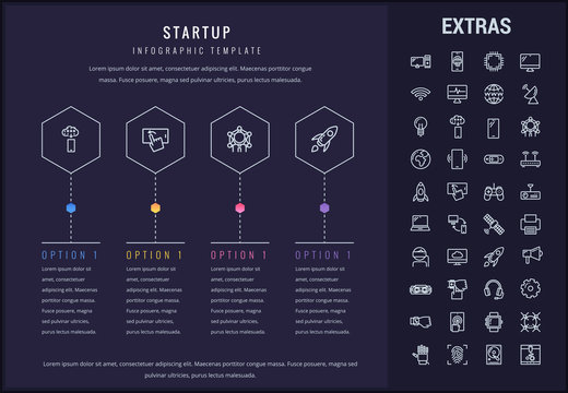 Startup options infographic template, elements and icons. Infograph includes four options, line icon set with startup rocket, business launch, network technology, internet connection, satellite etc.