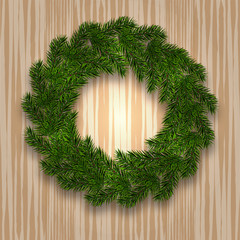 New Year Christmas. Green branch of spruce in the form of a Christmas wreath with shadow. against the background of natural wood. illustration