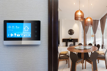 smart screen with smart home and modern dining room