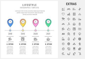 Lifestyle timeline infographic template, elements and icons. Infograph includes options with years, line icon set with healthy and fast food, sport exercise, training machine, leisure activities etc.