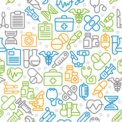 Medical line icons background, medicine symbols in color, Vector