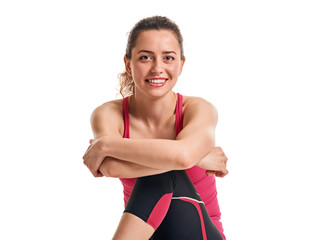smiling fitness woman resting