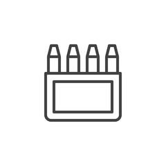 Crayons box line icon