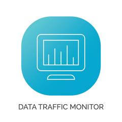 data report graph on monitor screen icon