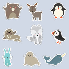 set of sticker with cute animal arctic