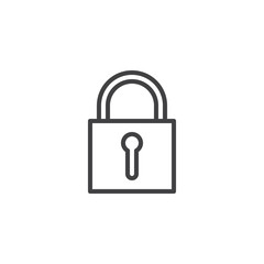 Padlock line icon, outline vector sign, linear style pictogram isolated on white. Lock symbol, logo illustration. Editable stroke