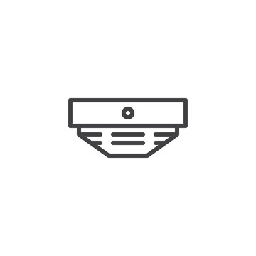 Smoke detector line icon, outline vector sign, linear style pictogram isolated on white. Fire fighting symbol, logo illustration. Editable stroke