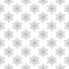 Snowflakes seamless pattern. Light gray background with christmas elements