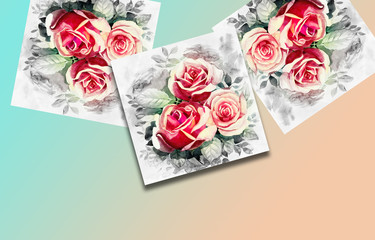 Greeting card with pink roses flowers.