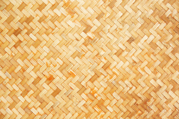 Native Thai style bamboo wall background, natural wickerwork