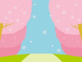 桜並木 背景イラスト