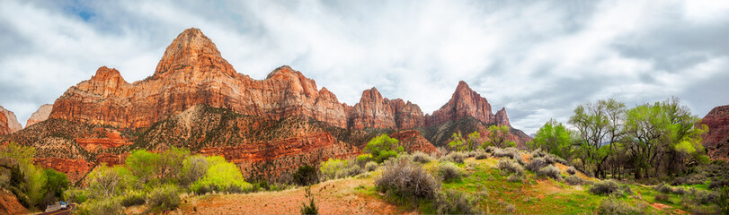 Mountain Range Panorama in Spring at Zion National Park, Utah, USA - Park South Entrance from Springdalle.