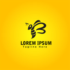 B Logo type cartoon Bee art logo