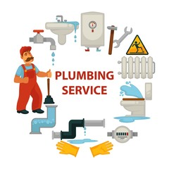 Plumbing service promotional poster with worker and broken sanitary engineering