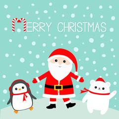 Penguin. White polar bear. Santa Claus wearing red hat, costume, big beard, belt buckle. Merry Christmas. Candy cane. Cute cartoon kawaii funny character. Blue snow background. Greeting card.