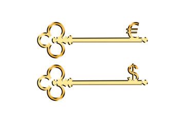 Golden Key Euro and Dollar Sign Power of Money