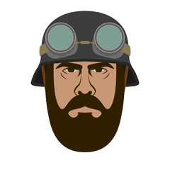 man face in helmet vector illustration flat style  front