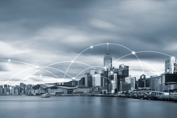 Wall Mural - Hong kong cityscape in blue tone with network connection concept