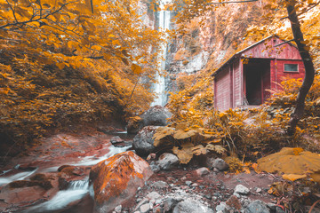 Soft autumn landscape view of Maral Waterfall