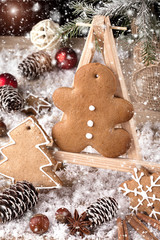 Christmas decorations with homemade gingerbread