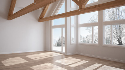 Empty room in luxury eco house, parquet floor and wooden roof trusses, panoramic window on winter meadow, modern white architecture interior design