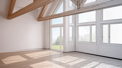 Unfinished project of empty room in luxury eco house, parquet floor and wooden roof trusses, panoramic window panoramic window on summer spring meadow, modern white architecture interior design