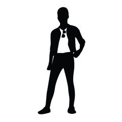 posing man silhouette illustration design