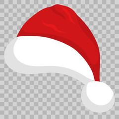 Santa hat on transparent background. vector