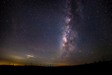 Milky way galaxy over night sky in Thailand