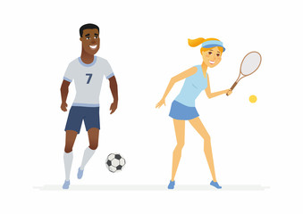 Tennis and football players - cartoon people characters illustration