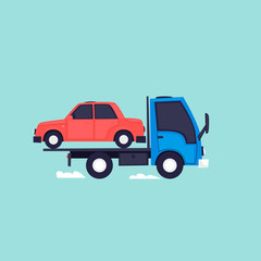 Evacuator, driving car. Flat design vector illustration.
