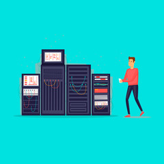 Service server. Flat design vector illustration.